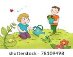 two kids watering the plants.... | Shutterstock . vector #78109498