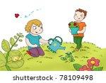 two kids watering the plants.... | Shutterstock . vector #78109498