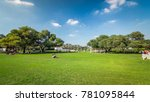 alley with green lawn and trees ... | Shutterstock . vector #781095844