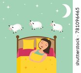 girl counting sheep to fall...