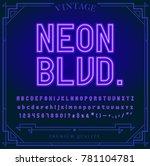bright neon alphabet letters ... | Shutterstock .eps vector #781104781
