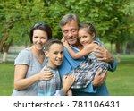 happy family in park | Shutterstock . vector #781106431