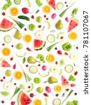 pattern of vegetables and... | Shutterstock . vector #781107067