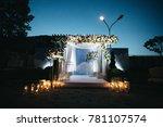 flower garland hangs before... | Shutterstock . vector #781107574