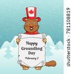 happy groundhog day greeting... | Shutterstock .eps vector #781108819