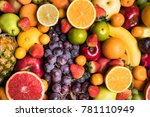 fresh fruits background | Shutterstock . vector #781110949