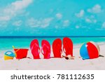 colored flip flops  toys and... | Shutterstock . vector #781112635