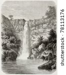 Small photo of Old illustration of Reb river falls, Abyssinia. Created by De Bar, published on Le Tour du Monde, Paris, 1864