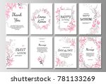 set of card with pink wild... | Shutterstock .eps vector #781133269
