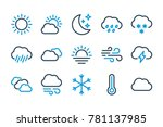 weather related line icons.... | Shutterstock .eps vector #781137985