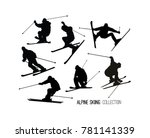 set of black alpine skier s ... | Shutterstock .eps vector #781141339