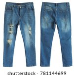 distressed blue jeans front and ... | Shutterstock . vector #781144699
