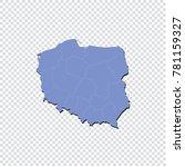 poland map   high detailed blue ... | Shutterstock .eps vector #781159327
