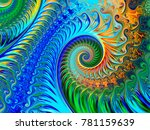 Abstract fractal background Fairy Infinite Spirals computer-generated image. Beautiful winter abstract background for wallpaper. Fractal digital artwork for creative graphic design.