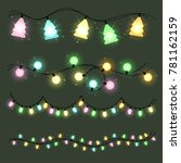 set of christmas color garlands ... | Shutterstock . vector #781162159