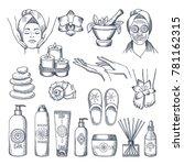 illustrations set for spa salon.... | Shutterstock .eps vector #781162315