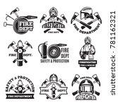 monochrome labels set for fire...