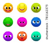 funny colored furry emoticons.... | Shutterstock .eps vector #781162375