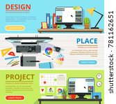 workspace for computer...   Shutterstock .eps vector #781162651