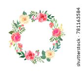 colorful flowers wreath.... | Shutterstock . vector #781163584