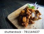 crispy pork thai style served... | Shutterstock . vector #781164637