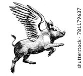 flying pig. black and white ink ... | Shutterstock . vector #781179637