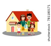 house icon with happy family | Shutterstock .eps vector #781180171