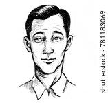 man thinking. retro styled ink... | Shutterstock . vector #781183069