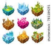 isometric colorful game islands ... | Shutterstock .eps vector #781184251