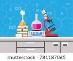 laboratory equipment  jars ... | Shutterstock .eps vector #781187065