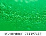macro of green water bubbles on ... | Shutterstock . vector #781197187