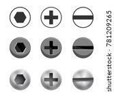 a set of metal shiny screws and ... | Shutterstock .eps vector #781209265