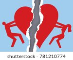 divorced couple ripped paper...   Shutterstock .eps vector #781210774