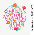happy mother's day card with... | Shutterstock . vector #781214761