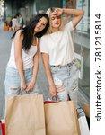 tired women after long shopping.... | Shutterstock . vector #781215814