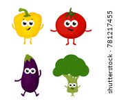 set with cartoon vegetables... | Shutterstock .eps vector #781217455