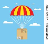 package flying on parachute ... | Shutterstock .eps vector #781217989