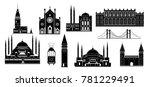 cartoon turkey symbols and... | Shutterstock .eps vector #781229491