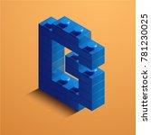 3d isometric letter b of the... | Shutterstock .eps vector #781230025