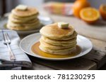 Small Pancakes With Maple Syru...