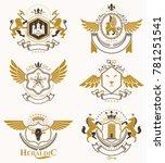 heraldic coat of arms created... | Shutterstock . vector #781251541