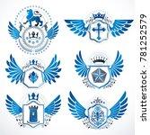 collection of heraldic... | Shutterstock . vector #781252579