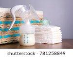 breast pump  wicker basket and...   Shutterstock . vector #781258849