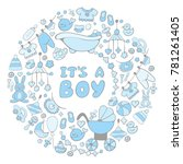 round frame with baby shower... | Shutterstock .eps vector #781261405