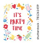 hand drawn card with colourful... | Shutterstock .eps vector #781261459