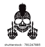 punk skull with middle finger... | Shutterstock .eps vector #781267885