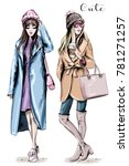 two fashion women. hand drawn... | Shutterstock .eps vector #781271257