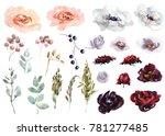 wedding bridal bouquet. green... | Shutterstock . vector #781277485