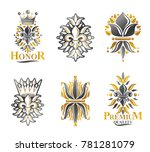royal symbols lily flowers ... | Shutterstock . vector #781281079