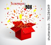 open red gift box and confetti. ... | Shutterstock .eps vector #781284349